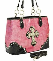 Pink Purse with Cross Cross Purses, Pink Handbags, Backpack Purse, My Favorite Color, Pretty In Pink, Studs, Shoulder Bag, My Style, Pink Things