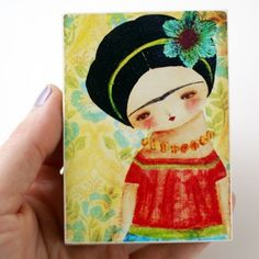 Frida With a Blue Flower - Print On Wood