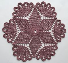 This is a handmade crochet doily. It is made with light lavender thread in size It measures about 12 and Crochet Dollies, Crochet Lace Edging, Thread Crochet, Crochet Stitches, Crochet Flower Patterns, Crochet Patterns For Beginners, Crochet Sunflower, Crochet Tablecloth, Tatting Lace