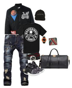 """Untitled #41"" by reeseo-hmd ❤ liked on Polyvore featuring Love Moschino, Mastermind, adidas Originals, Nixon, Gucci, Versace, men's fashion and menswear"