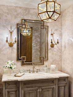 Bathroom pendant. Bathroom lighting. Suzanne Kasler Morris Lantern. Bathroom lighting is Morris Lantern #SuzanneKasler #MorrisLantern #Bathroomlighting #Bathroom #lighting #MorrisLantern Kim Scodro Interiors