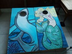 mermaid shark corn hole boards