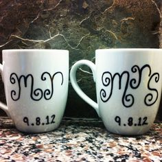 Super easy DIY wedding gift: Sharpie on ceramic mug, bake at 350 for 30 minutes to make it permanent. - This is good to know. The kids could draw in and make these as gifts for any occasion and anybody. I like it.