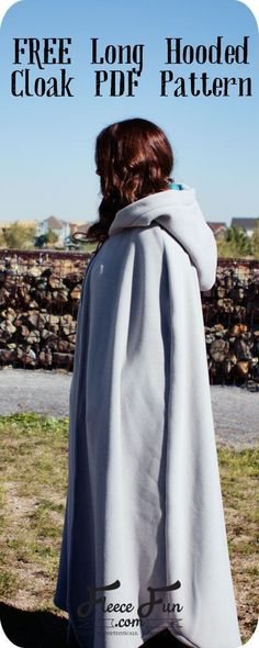 Free sewing pattern. Long, hooded cloak.                                                                                                                                                                                 More