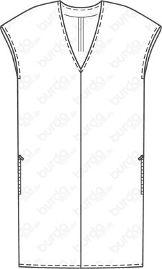 Dress - V-neck Linen Dress Pattern, Tunic Sewing Patterns, Dress Patterns, Linen Tunic, Over 50 Womens Fashion, Diy Fashion, Kimono Shrug, Cocoon Dress, Fabric Stamping