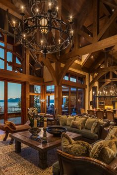 Traditional Style Mountain Home Overlooking Lake Tahoe Palaces, Luxury Mobile Homes, Luxury Homes, Luxury Boat, Rustic Houses Exterior, Log Home Living, Log Home Designs, Mansion Interior, Rustic Cabin Decor