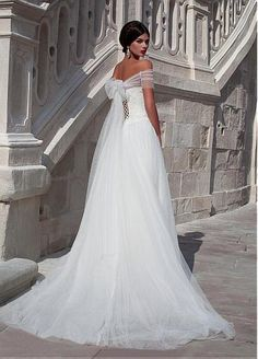 HELLO DREAM DRESS Elegant Tulle Off-the-shoulder Neckline A-line Wedding Dress With Beaded Lace Appliques