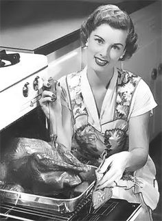 Looking elegant while preparing a wonderful perfectly cooked meal.  Oh, this is totally me every day ;) Vintage 1950's