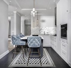 Pinspiration: Add A Touch Of Luxury With Velvet Decor - Apar.- Pinspiration: Add A Touch Of Luxury With Velvet Decor – Apartminty Baby Blue Tufted Kitchen Bar Stools & Stunning White Marble Interior Design Kitchen, Interior Decorating, Decorating Ideas, Luxury Kitchen Design, Condo Interior Design, Townhouse Interior, Apartments Decorating, Gold Interior, Decorating Kitchen