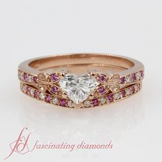 Heart Shaped diamond Wedding Ring Sets with Pink Sapphire in 14K Rose Gold exclusively styled by Fascinating Diamonds