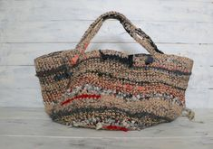 One of a Kind Colorful Handmade Crocheted Shoulder/handbag  made of natural color Jute strings , many color,many kind of wool yarn and linen yarn and Vintage Kimono 100% Silk / Cotton fabric Rag Yarn in some colors like indigo-blue,pink,ivory,red, etc... accents and also some Kimono fringe for accent! Item no.KRB05-1   $ 238 Please visit our Etsy Shop More beautiful Bags! https://www.etsy.com/shop/BrauvalStock
