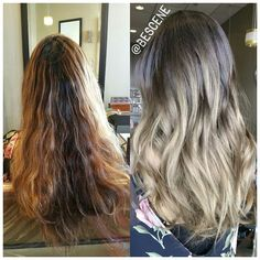 Instagram media by bescene - Believe it or not, the before was an attempted ombre ! My client @zakaa didn't want any brass or orangey colors, so I kept it simple and classic with that ash brown base to ash blonde ends. Base: 4-13,5-1,0-22 20vol Ends: 8-1,E-1,0-22 20vol using all @Schwarzkopfusa Igora Royal. #bescene