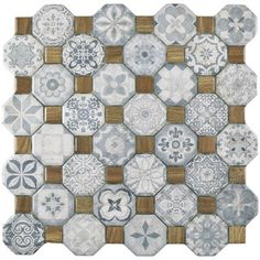 The SomerTile 12.25x12.25-inch Tesseract Blue Ceramic Floor and Wall Tile is a dramatic union of old-fashioned elegance and modern artistry. It has octagons in a variety of old-world patterns in shade