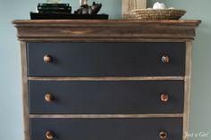 Industrial Rustic Dresser using Tea & Steel Wool Stain | Just a Girl