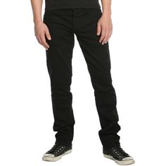 Hot Topic XXX RUDE Black Slim Straight Jeans (€19) ❤ liked on Polyvore featuring men's fashion, men's clothing, men's jeans, mens low rise slim fit bootcut jeans, mens low rise straight leg jeans, mens slim cut jeans, mens slim jeans and mens slim fit jeans
