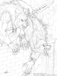 """""""Urban Hunters"""" Pencil on 9 X 12 smooth Bristol. These two Garou are out hunting Leeches, or other likely Wyrmlings, on a Saturday night for shits and giggles. Art by Christy """"Goldenwolf"""" Grandjean"""