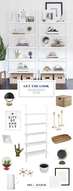 How to style a modern bookshelf // bookshelf styling, bookshelf accesories, style bookcase Wall Mounted Bookshelves, Styling Bookshelves, Modern Bookshelf, Bookshelves In Bedroom, Living Room Shelves, Modern Shelving, Painted Bookcases, Kitchen Bookshelf, Bookshelf Wall