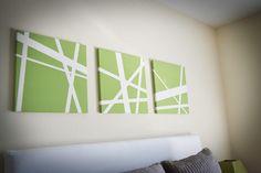 Canvas   Painters Tape   Paint = cheap art!!