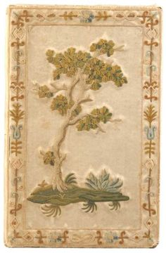 Embroidered book cover, tree.