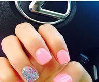 Pink Nails With Glitter Nail