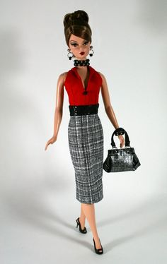 Red White and Black Dress for Barbie by ChicBarbieDesigns on Etsy
