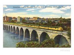 Train- Crossing Stone Arch Bridge, Minneapolis, MN (Art Prints available in multiple sizes) Arch Bridge, Art For Sale Online, Train Art, Free Canvas, Minneapolis Minnesota, Stock Art, Modern Photography, Antique Maps, Framed Art Prints