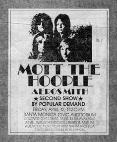 Mott The Hoople w/ Aerosmith April 1974 Santa Monica Civic Rock Posters, Music Posters, Band Posters, Aerosmith Concert, Ian Hunter, Mott The Hoople, Vintage Concert Posters, Power Pop, Psychedelic Rock