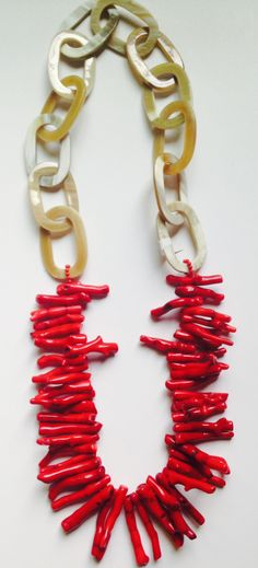Red Coral Horn Link Necklace. Retail: $695