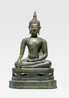 A copper alloy figure of Buddha Thailand, Northern Sukhothai style, century Seated in half-lotus with the earth-touching gesture on an hexagonal base, his face in deep satisfaction. Buddha Art, Buddha Statues, Art Thai, Southeast Asian Arts, Laos, Pacific Place, Thing 1, 14th Century, Sculpture