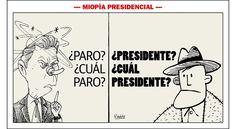 """Santos: """"El tal paro nacional agrario no existe"""". Caricatura de Vladdo a raíz de las palabras del presidente."""