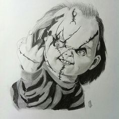 Creative Draw A Monster Ideas. Exacting Draw A Monster Ideas. Scary Drawings, 3d Drawings, Disney Drawings, Colorful Drawings, Tattoo Drawings, Horror Drawing, Horror Art, Chucky Drawing, Chucky Tattoo