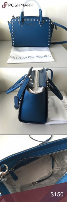 Michael Kors Studded Selma Gorgeous blue, medium-sized studded Selma by Michael Kors. Comes with removable straps to use as a handbag or just leave the straps and use it as a crossbody. Michael Kors Bags Crossbody Bags