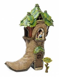 Miniature Fairy Garden Boot House with Yard Sign