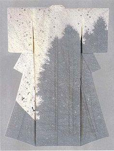 "Kimono with yuzen-zome design ""Snow Flower"" by Japanese National Living Treasure Tajima Hiroshi"