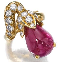 Ruby and diamond ring, René Boivin, 1970s. Of floral design, set with a cabochon ruby and brilliant-cut diamonds, size 51, signed R. Boivin, French assay and maker's marks. Sotheby's.