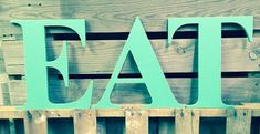 EAT letters hand painted 14 wood. Slightly by ASimplePlaceOnMain