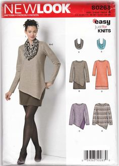 Miss Sz 8-20 Knit Dress Tunic Scarf Sewing Pattern NewLook S0263 / 6412 Sewing patterns and instructions for women's knit dress, tunic and scarf. Dress is in two versions. Tunic is in two versions. Si