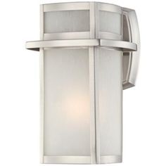 """Brushed Nickel Frosted Glass 11 1/4"""" High Outdoor Wall Light - #U1390 - $79.95 