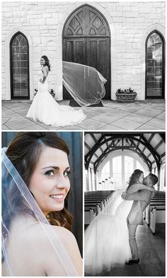 Bridal photos after wedding ceremony. Close up of brides face, bride in front of church doors. Groom and Bride kissing | Katie Cooper Photography | Atlanta, GA