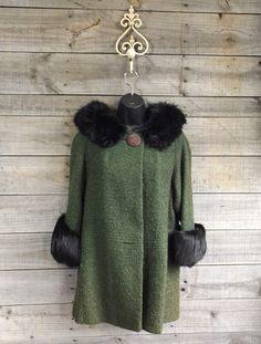 Vintage Green Wool Winter Swing Hip Coat w/ Black by AllQuirkedUp
