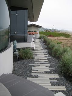 Modern Beach Vision contemporary landscape Landscape Materials, Landscape Plans, Landscape Architecture, Modern Landscaping, Front Yard Landscaping, Concrete Path, Outdoor Cooking Area, Paving Ideas, Outside Living