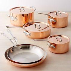Shop Williams Sonoma's full selection of Mauviel copper cookware, including Mauviel copper pots and Mauviel copper pans. Copper Cookware Set, Copper Pans, Cast Iron Cookware, Copper Kitchen, Rustic Kitchen, Kitchen Decor, Kitchen Goods, Kitchen Interior, Williams Sonoma