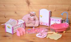 Mini Baby Born weiß-rosafarbene Möbel komplettes Set RAR TOP 4 | eBay
