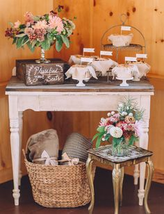 Pretty pie table with mini pies doubling as escort cards
