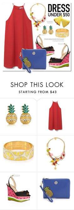"""Salade de fruits"" by monica-dick ❤ liked on Polyvore featuring MBLife.com, MANGO, Kate Spade, Dolce&Gabbana, Charlotte Olympia, Tory Burch and Dressunder50"