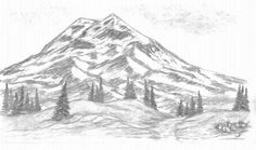 A Mountain Scene: This is a simple mountain scene I drew.   With each drawing I try to experiment with different techniques.   It is really nice to have a space to share