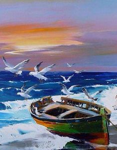 Dinghy, Seagulls And Sea~ Christian Jequel Seascape Paintings, Landscape Paintings, Oil Paintings, Art Plage, Boat Art, Boat Painting, Beach Scenes, Pictures To Paint, Watercolor Paintings