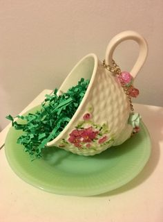 Tea Cup Ring Dish, Green Pink Jewelry Tray, Potpourri Holder, Trinket Candy Dish, Upcycled Vintage, Home Office Decor, Gift for Tea Lover