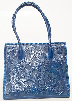 Blue Hand Tooled Leather Purse by ChamanShop on Etsy 61d61f928872f