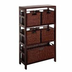 "Espresso-finished storage shelf with 5 woven pull-out baskets.    Product: Storage shelf Construction Material: Wood and wickerColor: EspressoFeatures:  Three shelvesFive baskets included Dimensions: 42"" H x 25.25"" W x 11.25"" D"
